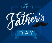 Happy father`s day lettering blue greeting card