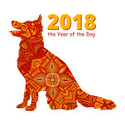 Chinese New Year Card Poster for Year of Dog