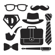Father's day icon set - BW