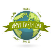 Earth Day banner with handwritten text, april 22 Vector illustration.