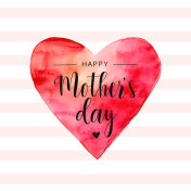 Vector Happy Mother's day card with red watercolor heart