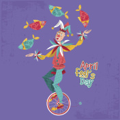 Clown on unicycle juggling fish. April Fool's Day.