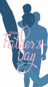 Father's Day background with silhouettes of fathers and son. Vector illustration