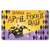 Vintage April Fool's Day card or banner design with jester's hat and hand lettering