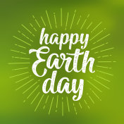 Happy Earth Day handwriting lettering. Vector green mesh gradient background
