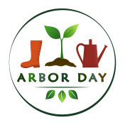 National Arbor Day creative concept in circle with sprout