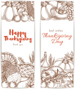 Thanksgiving day sketched retro greeting banners