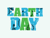 Earth Day Concept Stamped Word Art Illustration