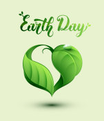 Earth Day concept illustration. Leaf in a heart shape.