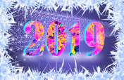 Happy new year 2019 banner with ice crystals