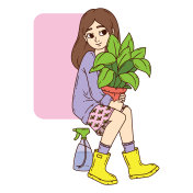 Girl with potted plant.