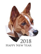 Vector image of basenji dog in low polygonal style