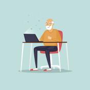 Elderly man is sitting on the Internet. Vector illustration flat style.