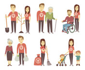 Volunteer helping to disabled people vector characters set for volunteering concept