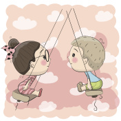 Boy and Girl on the swing