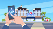 Hand Hold Smart Phone Using Online Doctor App Over Hospital Background Mobile Medicine Concept
