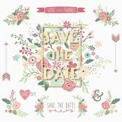 Save The Date Floral Frame Design