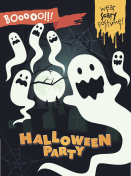 Halloween poster with scary ghosts