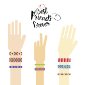 Happy Friends Day Hands With Friendship Bracelets Greeting Card Holiday Banner
