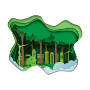 Green city paper art style