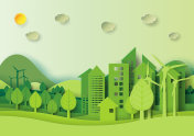 Green urban city and forest environment concept paper art style