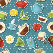 Seamless pattern with tea and accessories, packs and kettles