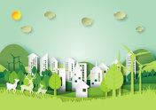 Green urban city and environment concept paper art style