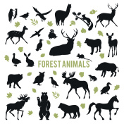 Silhouettes of the forest animals.