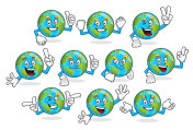 A set of earth vector mascot, earth character vector pack