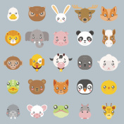 Animals cute baby cartoon cubs flat design head icons set character vector illustration