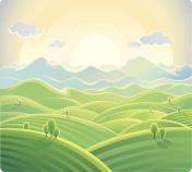 Summer sunrise landscape.