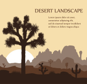 Morning landscape with Joshua tree and mountains over sunrise.