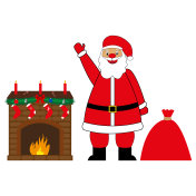santa claus with presents by the fireplace