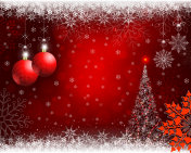 Christmas red background with red snowflake and balls