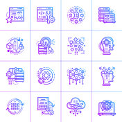 Outline gradient icon set of data science. Material design icon suitable for print, website and presentation