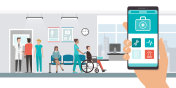 Medical app and patients at the hospital