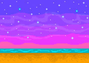 Pixel art sunset on the beach.