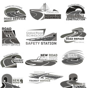 Vector icons of safety road construction service