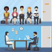 Business people waiting for job interview. Vector recruitment concept in