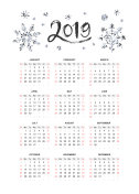 Vector calendar 2019 with snowflakes