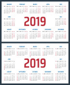 calendar for 2019 starts sunday and monday, vector calendar design 2019 year