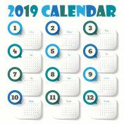 2019 Modern calendar template .Vector/illustration.