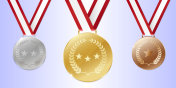 Gold medal vector place badge