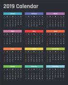 calendar for 2019 starts sunday, vector calendar design 2019 year