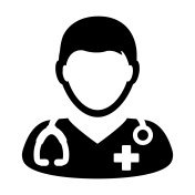 Doctor Icon Vector Medical Consultation Male Physician Person Avatar With Stethoscope and Cross Symbol Glyph Pictogram