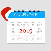Calendar 2019. Simple Calendar template for year 2019. Tear-off calendar for 2019. White background. Vector illustration