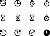 Twelve black and white time and clock icons
