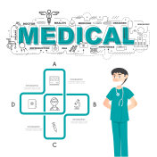 Physician with medical icons of infographic design