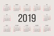 Calendar 2019 year vector design template