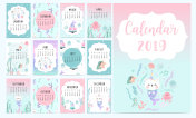 Cute monthly calendar 2019 with mermaid,caticorn,squid,coral and sea horse